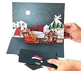 BC Worldwide Ltd fatto a mano 3D pop up Cartolina di Natale Babbo Natale pupazzo di neve albero di conifere sempreverde conifera regalo carta di consegna