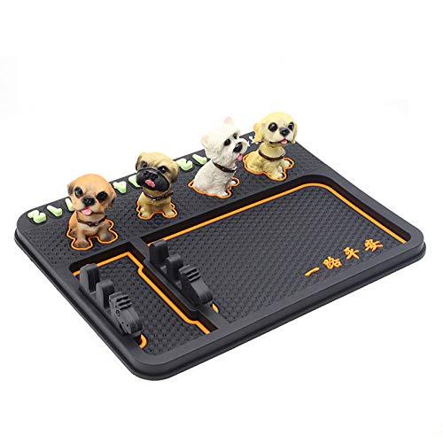 LYJKJGS Auto Telefon Anti-Rutsch-Pad Auto Speicher Pad Multifunktionsnetz Rot Rütteln Kopf Hund Kleine Ornamente Auto Matte,Orange -