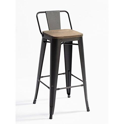 Taburete de metal galvanizado de color oscuro con asiento de madera y respaldo. Este taburete se caracteriza por introducirse dentro de un ambiente industrial o vintage. Taburete cómodo y apilable. Ideal para restaurantes, bares o cocinas. Gracias a ...