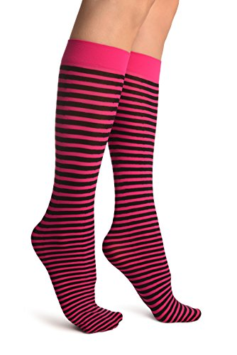 Thin Stripe Socks (LissKiss Black & Magenta Pink Thin Stripes Socks Knee High - Rosa Socken Einheitsgroesse (37-42))