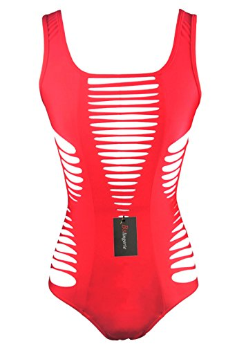 Bslingerie® Damen Sexy aushöhlen Schwarz Rot Monokini Bademode (M - EU 36-38, Rot)