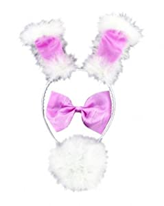 Alandra PINK AND WHITE FLUFFY BUNNY SET - EARS ON HEADBAND, BOW TIE AND FLUFFY TAIL WITH SAFETY PIN TO FASTEN (accesorio de disfraz)