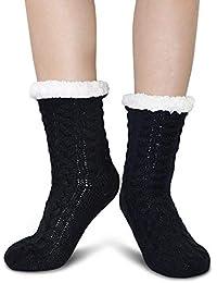 ZAKASA Mujeres de invierno suave cálido acogedor borroso Fleece forrado regalo de Navidad deslizador calcetines