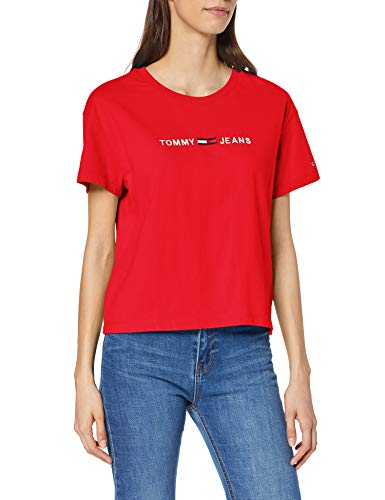 Tommy jeans tjw clean linear logo tee t-shirt, rot (flame scarlet 667), xs donna