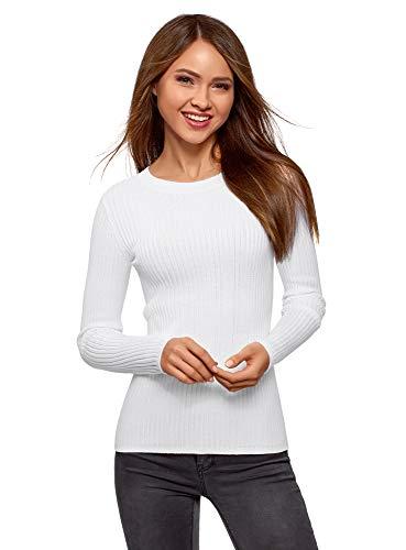oodji Collection Damen Pullover mit Breitem Rippmuster und Rundem Ausschnitt, Weiß, DE 40 / EU 42 / L