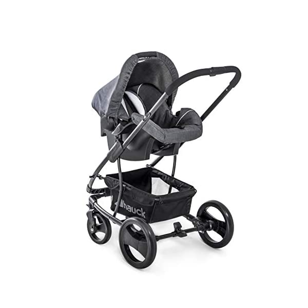 Hauck Pacific 4 Shop N Drive, Lightweight Pushchair Set with Group 0 Car Seat, Carrycot Convertible to Reversible Seat, Footmuff, Large Wheels, From Birth to 25 kg, Melange Charcoal Hauck  9