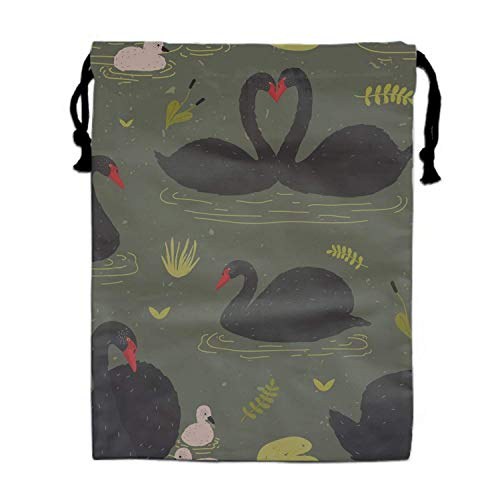 Einst Black Swans and Brood Polyester Fiber Turnbeutel Turnbeutel Bag for Girls and Boys (Halloween-ideen Swan Black)