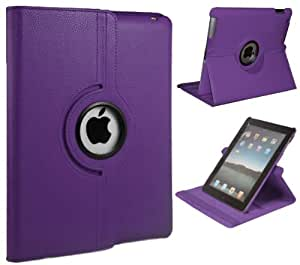 Xtra-Funky Exclusive PU Leather 360° Degree Rotating Stand Smart Case With Auto Wake / Sleep Function For Apple iPad 2 / 3 / 4 - PURPLE