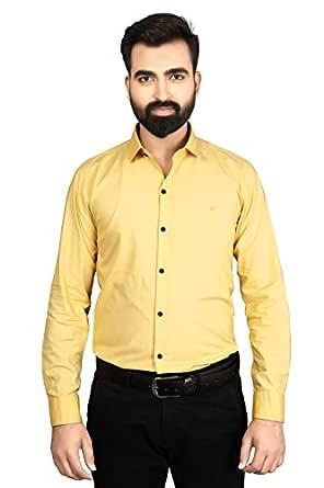 Sebon Slim fit Cotton Formal Shirts for Mens Full Sleeves (Lemon)