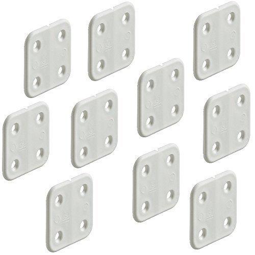Preisvergleich Produktbild 10 Stück - Aufschraubscharnier Kunststoff-Scharnier gelenklos weiß / Möbelscharnier 40 x 40 mm / Boot & Caravan-Scharnier aus widerstandsfähiges Polypropylen / Möbelbeschläge von GedoTec®