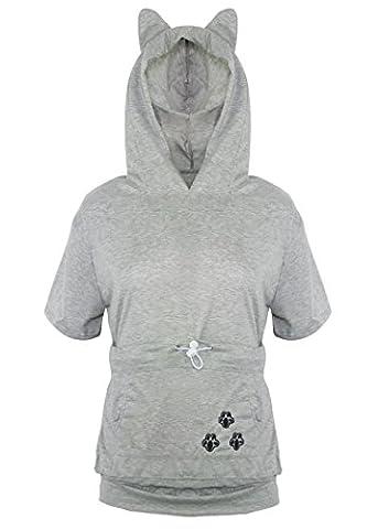 Sankill Femme Pet Pocket Chien Chat Kangaroo Pouch Hoodie T shirt Top Jumper