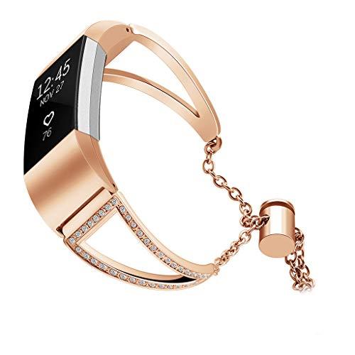 TianranRT Ersatz Edelstahl Stahl Kristall Watch Band Handgelenk Riemen Für Fitbit Ladung 2 (Roségold)
