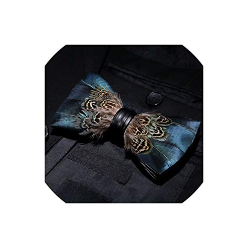 Feather Exquisite Hand Made Bowtie Gift Box Set Groom Wedding Party Men Bow Tie,30 Navy Silk Bow Tie