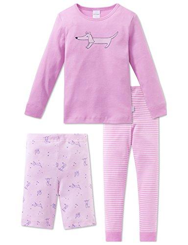 Schiesser Mädchen Schlafanzug Puppy Love Md 3-Teiliger Anzug, Rot (Rosa 503), 128