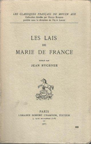Lais publiés par jean rychner les classiques française du moyen âge librairie honoré champion 1971