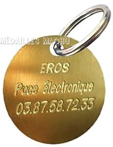 Machu - Médaille Chien LAITON BRUT 3 cm - Convient à GRAND CHIEN - Gravure profonde et soignée OFFERTE.