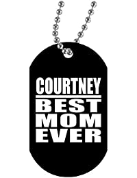 d7f093a50487 Courtney Best Mom Ever - Military Dog Tag Collar Colgante Militar Blanca -  Regalo para Cumpleaños