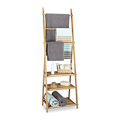 Relaxdays Bamboo Towel Rack Folding Small Clothes Stand with 3 Shelves, 3 Rails and 4 Side Hooks, Brown, 152 x 53 x 31 cm
