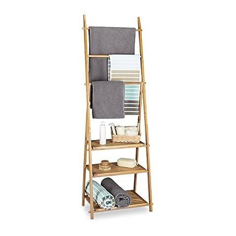 Relaxdays Handtuchhalter Bambus, Faltbar, kleiner Kleiderständer, 3 Ablagen, 3 Handtuchstangen,
