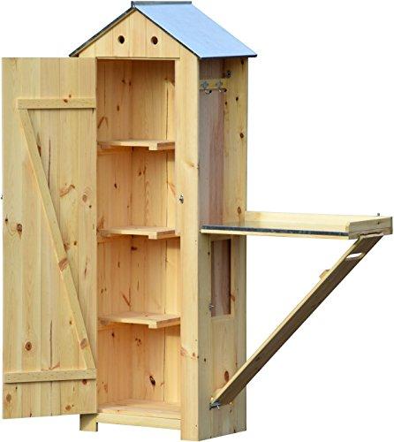 dobar schweres Gartengerätehaus aus Holz mit ausklappbarem Pflanztisch, Gartenschrank fertig aufgebaut, 130 x 48 x 185 cm, 44 kg, natur beige