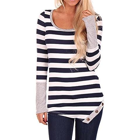 Coversolate Camisa de las mujeres de la manera raya la costura de manga larga remata la blusa