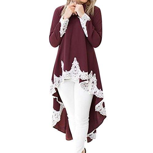 Aelegant Damen Herbst Frühling Langarm Bluse Elegant Rundhals Langarmshirt mit Spitze Vorne Kurz Hinten Lang Oberteil Große Größen Streetwear