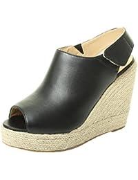 1d1bfddcf6b Tilly London Womens Ladies High Wedge Espadrille Mule Sandals Sling Back  Platform Summer Sizes 3 4