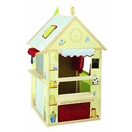 Roba-Spielhaus-Kombination-Rollenspiel-Haus-fr-Kinder-verwendbar-als-Kaufladen-Kasperletheater-Tafel-Schalter-fr-PostBankKiosk