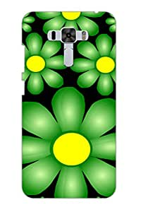 AMAN Sun Flower Black 3D Back Cover for Asus Zenfone 3 Laser ZC551KL