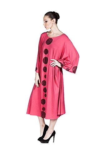 Hüseyin Küçük - Robe - Cocktail - Manches Longues - Femme Multicolore Gemustert 38-62 Fuchsia