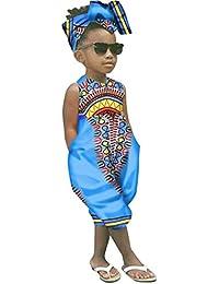 6bb5ae3e1bff4 Sunnywill BéBé Fille Tenues VêTements ÉTé Ensemble Imprimé Africain sans  Manches Combinaison Barboteuse+Bandeau