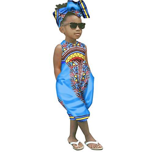 JERFER Suit Kinder Mädchen afrikanisch Drucken Ärmellos Strampler Overall Haar Band