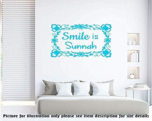 Smile is Sunnah -Islamische Wand zitieren Hadith Muslim Room Decor abnehmbare Vinyl Wandkunst Aufkleber islamische Wandkunst Aufkleber