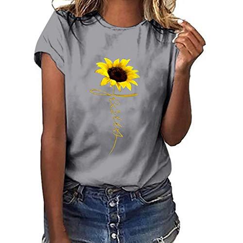 DQANIU-Damen Shirt, Damen Plus Size Sunflower Print Kurzarm T-Shirt Mode lässig O-Neck Bluse Tops -