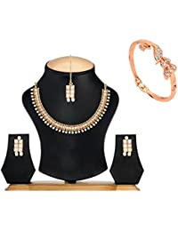 Bling N Beads Set Of Kundan And Pearl Necklace With Earrings Mang Tikka And Bracelet Diwali Gift For Her