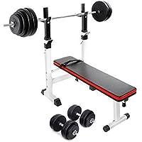 TNP Accessories® Adjustable Folding Weight Bench + 30KG Dumbbell Set + 60KG Barbell Bar Set