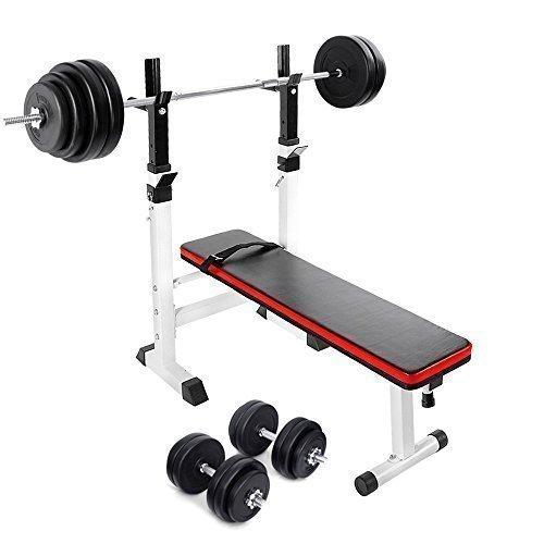 TNP Accessories Adjustable Folding Weight Bench + 30KG Dumbbell Set + 60KG Barbell Bar Set