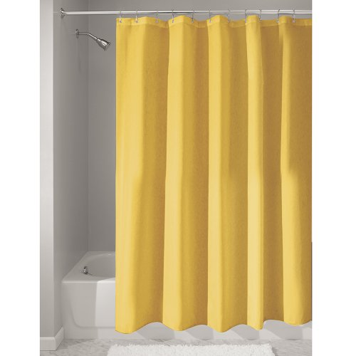 InterDesign Poly Bath Long Shower Curtains, Polyester, Yellow, 183 cm x 183 cm