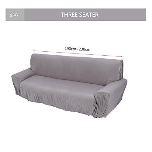 3 Farben Elastische Sofabezug Sofa Abdeckung Sesselbezug Sofaüberwurf 1/2/3-Sitz (Grau, Dreisitzer)
