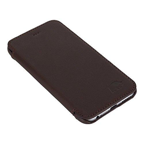 BENITO Ultra Book Case, iPhone 6/6S Fall Leder, Slim, handgefertigt, Leder Schutzhülle für iPhone 6/6S, Made in Europe, europäischen Stil & Qualität, Leder, hautfarben, iPhone 6 Plus / 6S Plus coffee