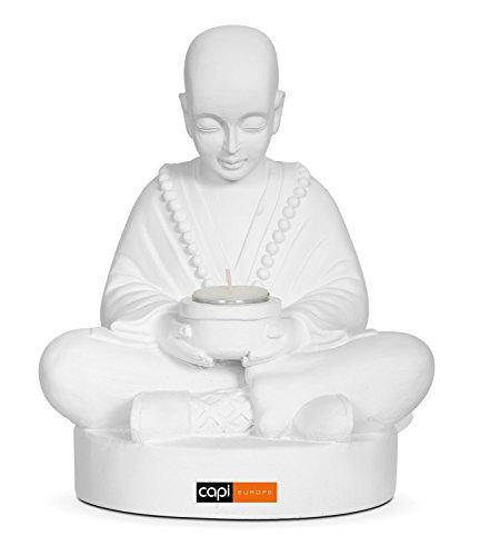 Preisvergleich Produktbild Capi Guru BUD2621 Buddha Shaolin Feng Shui Skulptur Figur Zen 25 cm mit Teelichthalter weiß