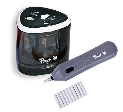 Peach 511013 Vorteils-Set Po102 Elektrischer Universal Anspitzer   Po104 Elektrischer Radierer