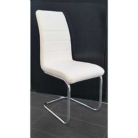 Hogar24.es-Pack 2 sillas salón comedor tapizadas en polipiel Blanco
