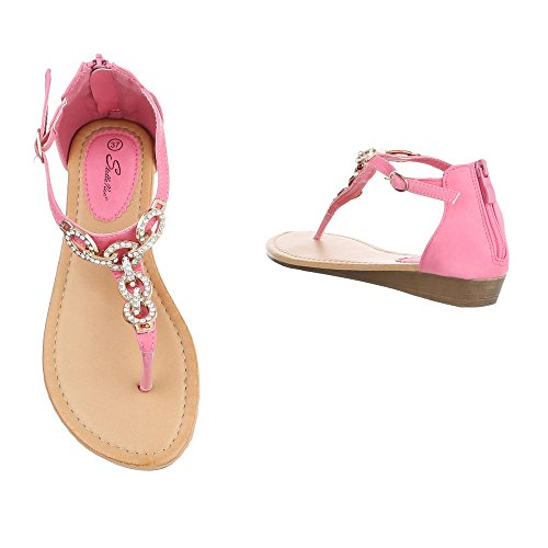 Zehentrenner Damenschuhe Peep-Toe Zehentrenner Reißverschluss Ital-Design Sandalen / Sandaletten Rosa N1160-3