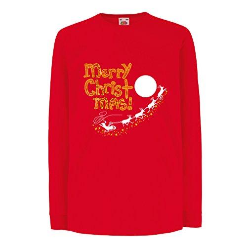 (lepni.me Kinder-T-Shirt mit Langen Ärmeln Weihnachtsmann und die Rentiere, Weihnachts-Outfits und Geschenke (9-11 Years Rot Mehrfarben))