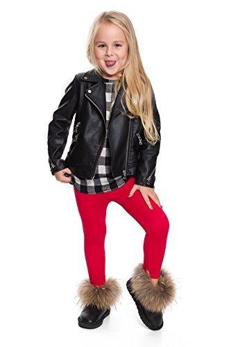 Hi! Mom WINTER KINDER LEGGINGS volle Länge Baumwolle Kinder Hose Thermische Material jedes Alter child28 - Rot, EU 128-134