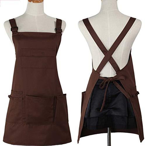 RANRANHOME RANHOME Schürze mit vielen Taschen, für Make-up-Künstler, Maniküre, Mode für Männer und Frauen, Arbeitsschürze, Werkzeugtaschen, verstellbar, Koch, Küche, Grill und Grill, Grau braun