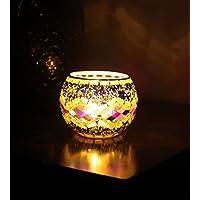 Splink Mosaico portavelas de cristal, Vela Votiva vasos, Té luz cristal, luz del norte para casa boda decoración