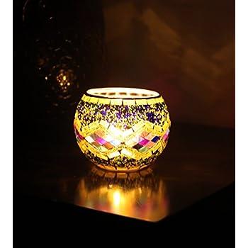Splink bougeoir rond en verre ajouré décoration design mosaïque photophore craquelé porte bougie romantique pour