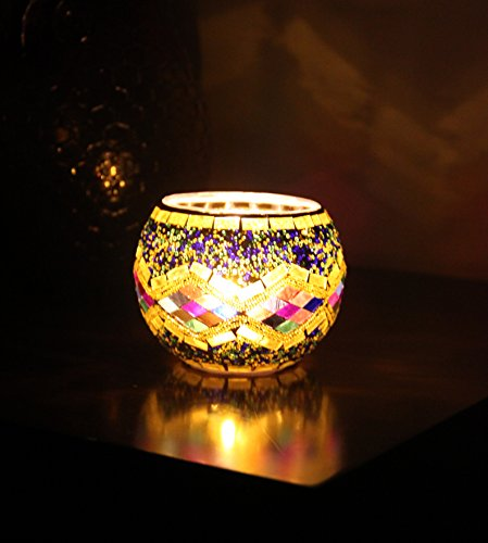 Splink Mosaic Tealight Holder Amber Glass Candle Holder Romantic Gift Tea Light For Wedding Party Dining Festival